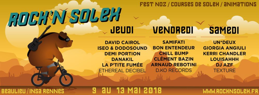 programmation du festival Rock'N Solex 2018 : course , animations, rock , festnoz
