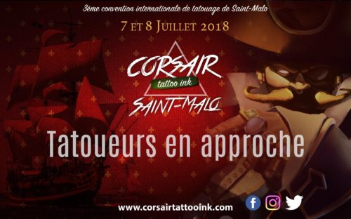 AFFICHE CONVENTION CORSAIR TATTOOO INK à SAINT-MALO, les 7 et 8 juillet 2018